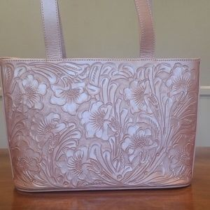 Pink hand tooled leather purse